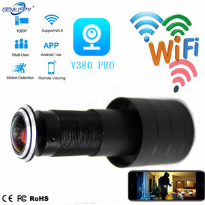 WIFI ojo de la puerta agujero 1080P 2,1mm gran angular ojo de pez red mirilla inalámbrica puerta IP Cámara P2P SD ranura tarjeta Audio almacenamiento en la nube
