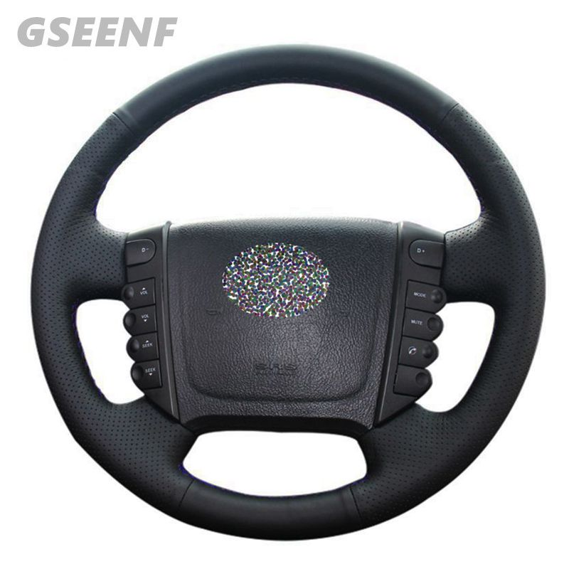 DIY <font><b>Car</b></font> Hand-stitched Black Genuine Leather Steering <font><b>Wheel</b></font> <font><b>Cover</b></font> For Ssangyong KYRON ACTYON Rexton W Rodius image