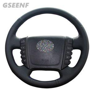 Funda de cuero genuino para volante de coche DIY, hecha a mano, negro de punto, para Ssangyong KYRON ACTYON Rexton W Rodius