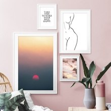 Sunset Dusk Cloud sky Sexy Line Girl Wall Art Canvas Painting Landscape Nordic Posters And Prints Pictures For Living Room