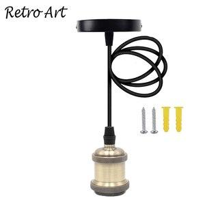 Image 5 - E26/ E27 תקרת תליית טקסטיל כבל מנורת בעל מלוטש תליון אור ערכת התאמה