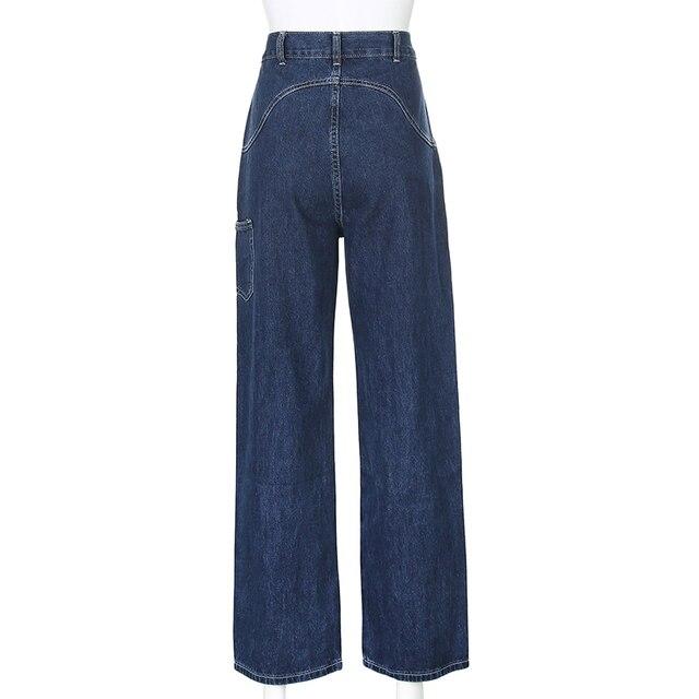 Streetwear Straight High Waist Denim Pants  6