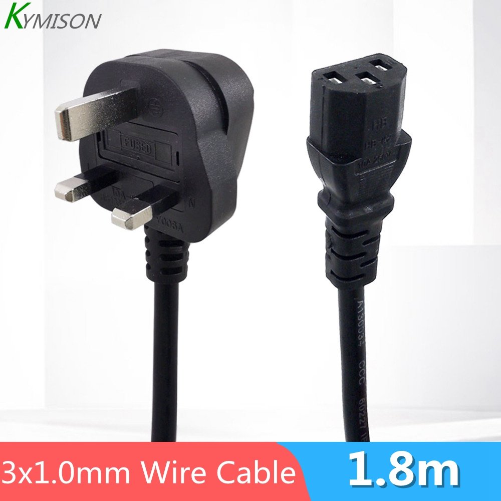 10A UK to IEC MAINS POWER LEADS BLACK WHITE 0.5m 1m 1.5m 2m 3m 5m 10m
