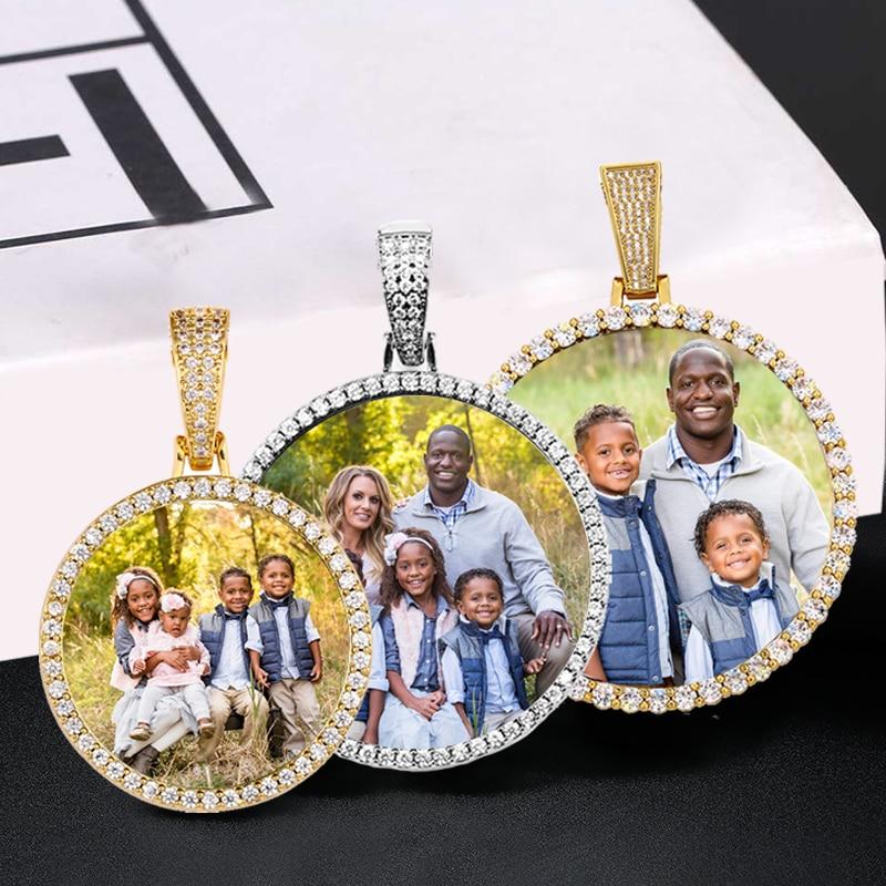 Round Memory Medallions Custom Photo Pendant Necklace For Men Hip Hop Jewelry Large Medium Small Size Pendant Zircon Chain Gift