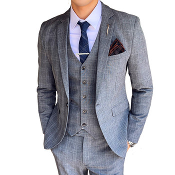 Houndstooth Men's Suit Three-Piece Autumn British Korean Slim Men's High-end Luxury Banquet (Blazer + Pants + Vest)