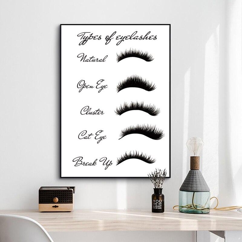 Современный модный макияж, настенная Картина на холсте, картина для декора комнаты для девочек, типы ресниц, принты, женские ресницы, плакат расширения ресниц