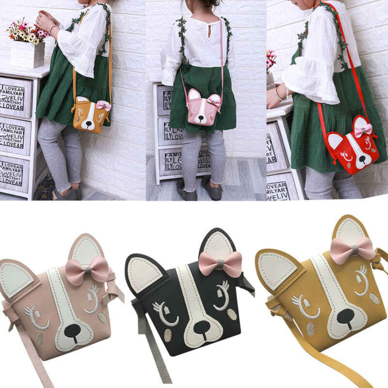 Goocheer Child Girl Cute Dog Bowknot Bow Leather Backpacks arrival Crossbody Messenger Shoulder Bag Purse