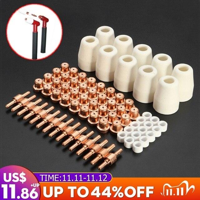 75 pièces accessoires de coupe Plasma pour torche de coupe consommables KIT électrodes embouts buses ajustement CUT40 CUT50
