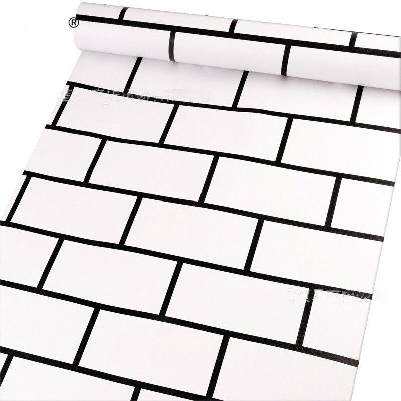 10m nouveauté INS style papier peint brique mur autocollant blanc et noir design papier peint papel de parede en rouleau taille 0.45*10m