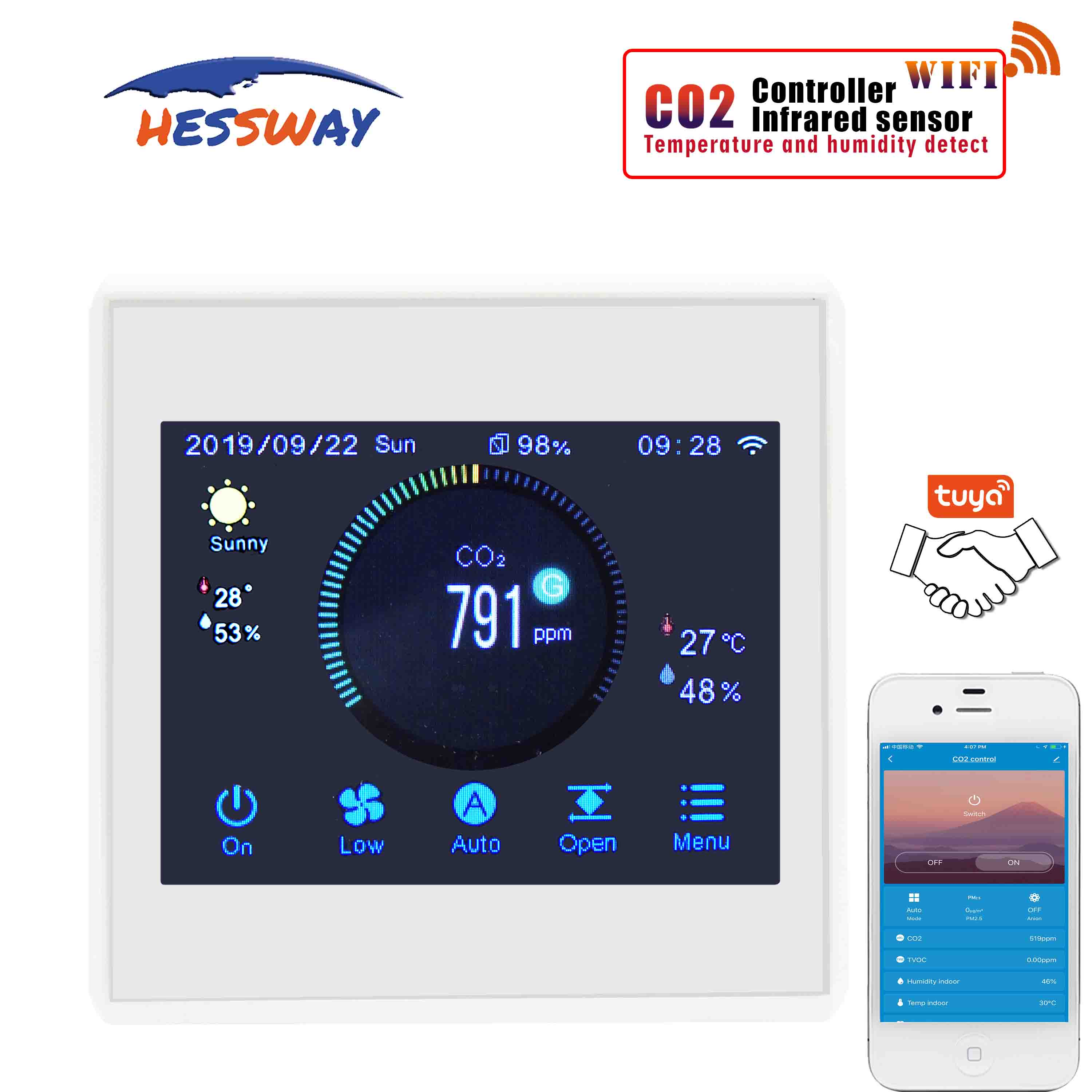 3-speed Adjustment Temperature & Humidity Monitoring And CO2 Concentration Control For Fresh Air System
