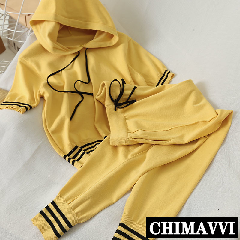 Two-Piece Knitting Pants Suit 2020 Summer Casual Short-Sleeved Hooded Top + Loose Trousers Female Solid Sports Set