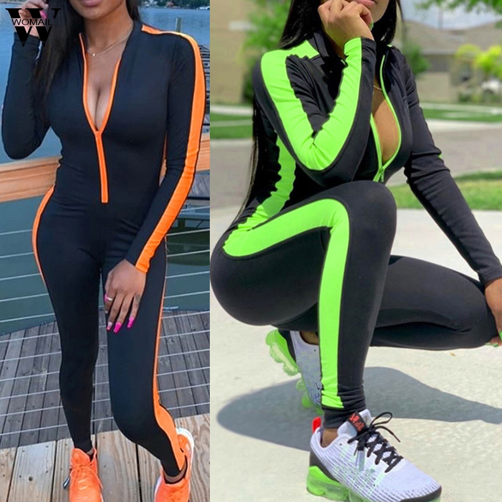 Womail bodysuit Women 2019 fashion Back Zipper Long Sleeve Long Jumpsuit Trousers Skinny Sports Casual Jumpsuit Holiday 827