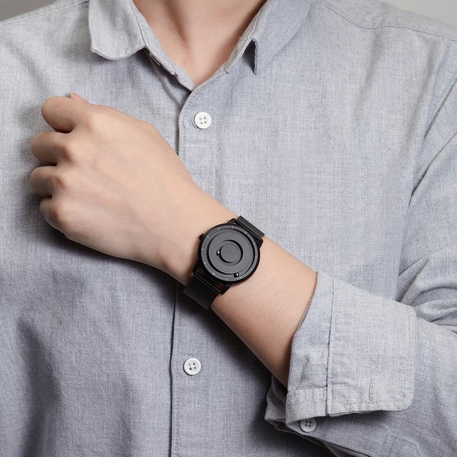 EUTOUR New Innovative Blue Gold Magnetic Metal Multifunctional Watch Men's Fashion Sports Quartz Watch Simple Men's Watch 4