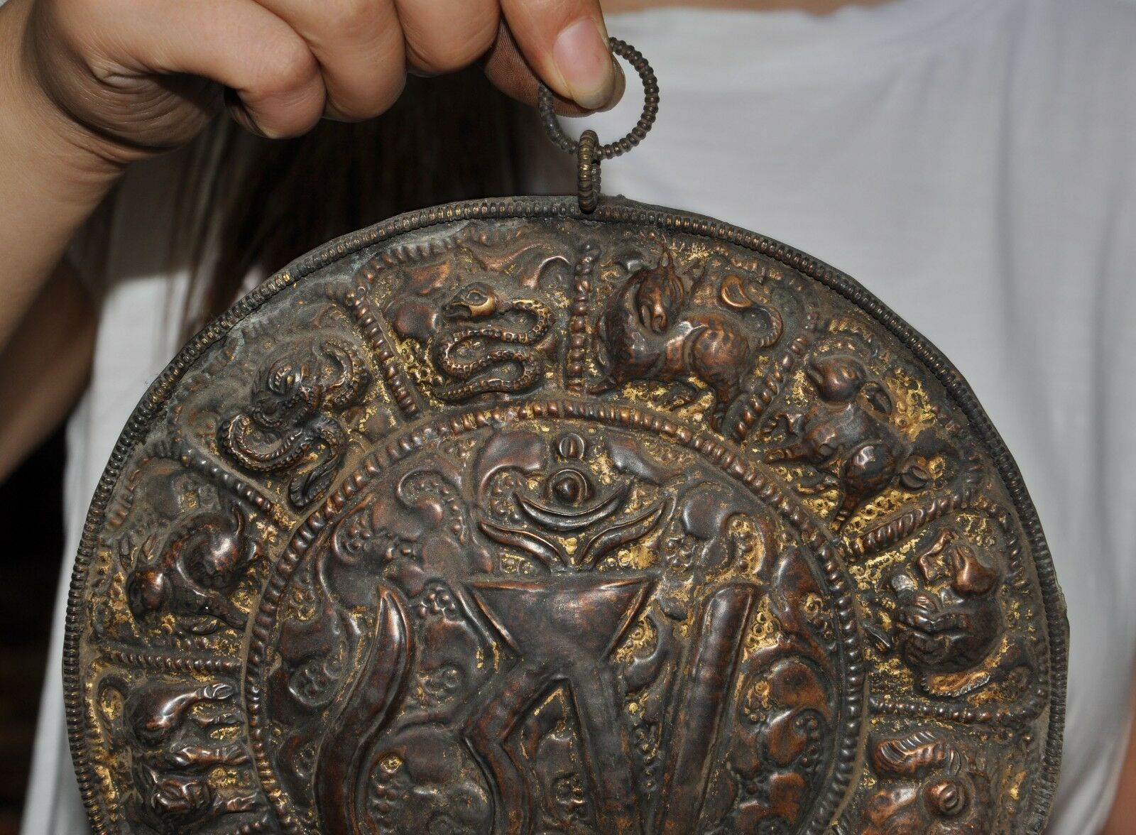 Свадебные украшения 8 Старый тибетский буддизм, бронзовый позолоченный знак зодиака животных Сутра настенный Tangka - 2
