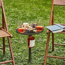 Outdoor Wine Table Portable Outdoor Wine Table With Foldable Wooden Round Desktop Beach Garden Furniture Sets