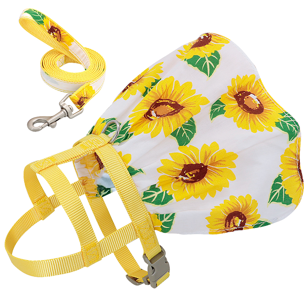 Small Puppy Dog Cat Clothes Harness Leash Adjustable Floral Printed Pet Harness Vest Dress For Small Medium Dogs Cats Chihuahua 8