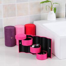 Retro Cylinder Shaped Three-layer Mini Flannel Roll-up Jewelry Ring Storage Box Top 3 Tier Compartment Mini Flannel Travel Home(China)