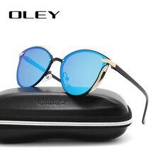 Женские солнцезащитные очки «кошачий глаз» OLEY, черные поляризационные очки в винтажном стиле, с защитой от ультрафиолета UV400, модель Y7824, 2019