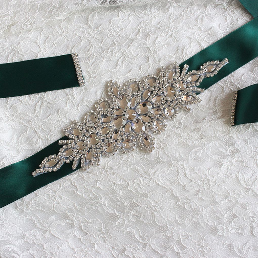 Wedding Ribbons Bridal Belt Dress Prom Crystal Sashes Evening Party Handmade Rhinestones Waistband