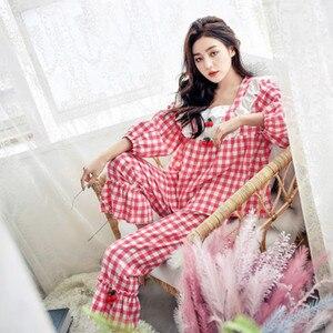 Image 5 - Pijamas de cuadros escoceses para mujer, ropa de dormir de algodón de princesa dulce, Sexy de encaje de manga larga, conjunto de 2 unidades para casa