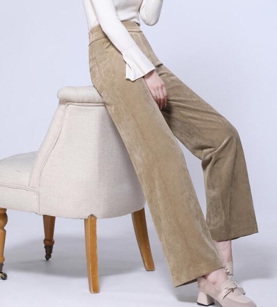 Pantalon velours côtelé pour femme droit capris femme taille élastique pantalon taille haute nouvelle mode automne printemps rouge beige bleu kaki kfy0903
