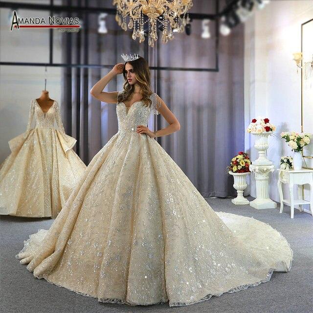 2020 אוסף אמנדה novias מותג אמיתי עבודה חתונת שמלת כלה שמלה