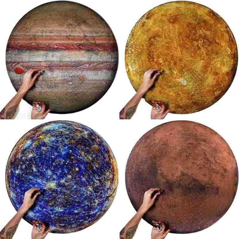 1000 Pieces Paper Jigsaw Puzzles Mercury/Jupiter/Venus/Mars Round Puzzles Toy For Adults Kids Jigsaw Gifts Commemorative Puzzles