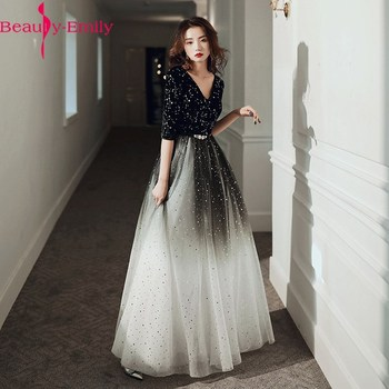Fashion Evening Dresses Long Simple A-Line V Neck Half Sleeve Tulle Elegant Formal Party Dresses with Sashes Real Photo 1