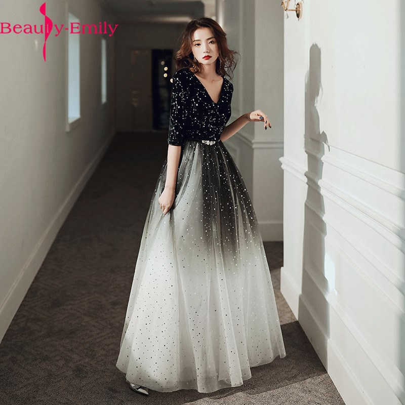 Fashion Evening Dresses Long Simple A-Line V Neck Half Sleeve Tulle Elegant Formal Party Dresses With Sashes Real Photo