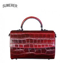 SUWERER NEW Women Genuine Leather bag luxury handbags women bags designer cowhide leather shoulder bag women tote bag tomubird 2018 new women genuine leather bag handmade embossing flower top cowhide luxury tote women leather shoulder bags