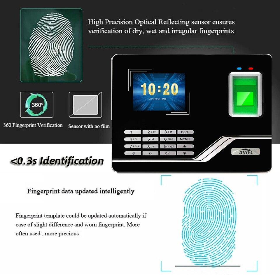H69e2df340e5349a59d9493640f76e19ec Attendance System Fingerprint TCPIP USB Password Access Control Office Time Clock Employee Recorder Device Biometric Machine