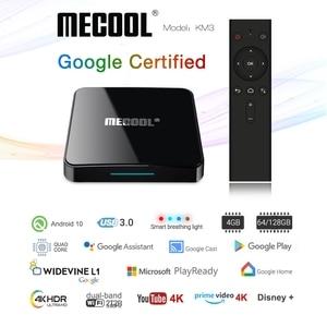 Image 2 - Mecool km3 android 10.0 caixa de tv 4g ddr4 128g 64g rom amlogic s905x2 2.4g/5g wifi 4k bt controle de voz google certificada caixa de tv