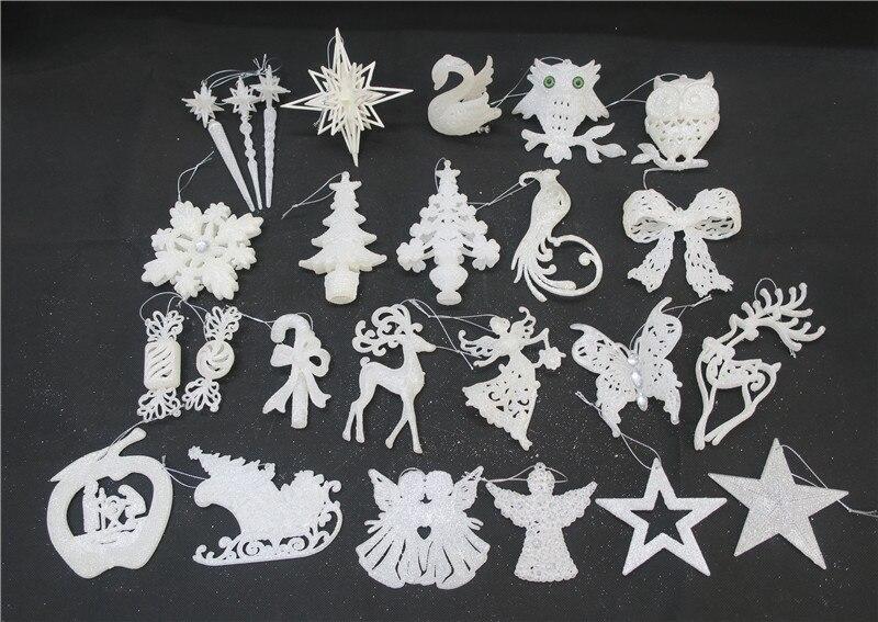 Christmas Tree Pendant White Plastic Glitter Decorative Pendant Christmas Ornaments Children Series Ornament Single