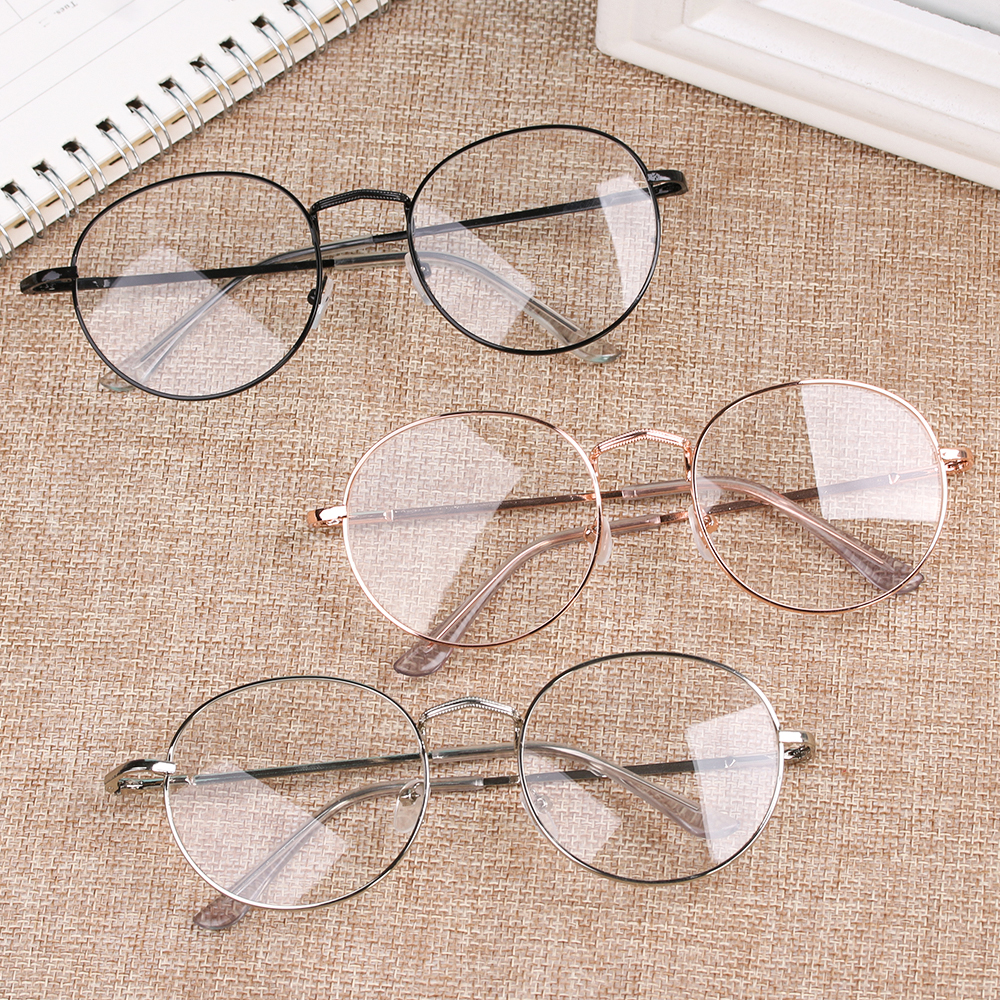 1PC Vintage Round Frame Glasses Oversized Metal Portable Optical Eyeglasses Spectacles Women Men New Fashion Eyewear Accessories