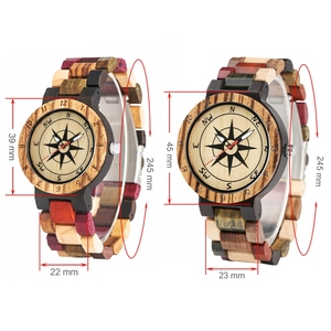 Image 5 - יוקרה גברים של שעון ייחודי מצפן חיוג עץ שעון גברים מעורב צבע מלא עץ להקת שעון נשים שעון רטרו שעוני יד relojes