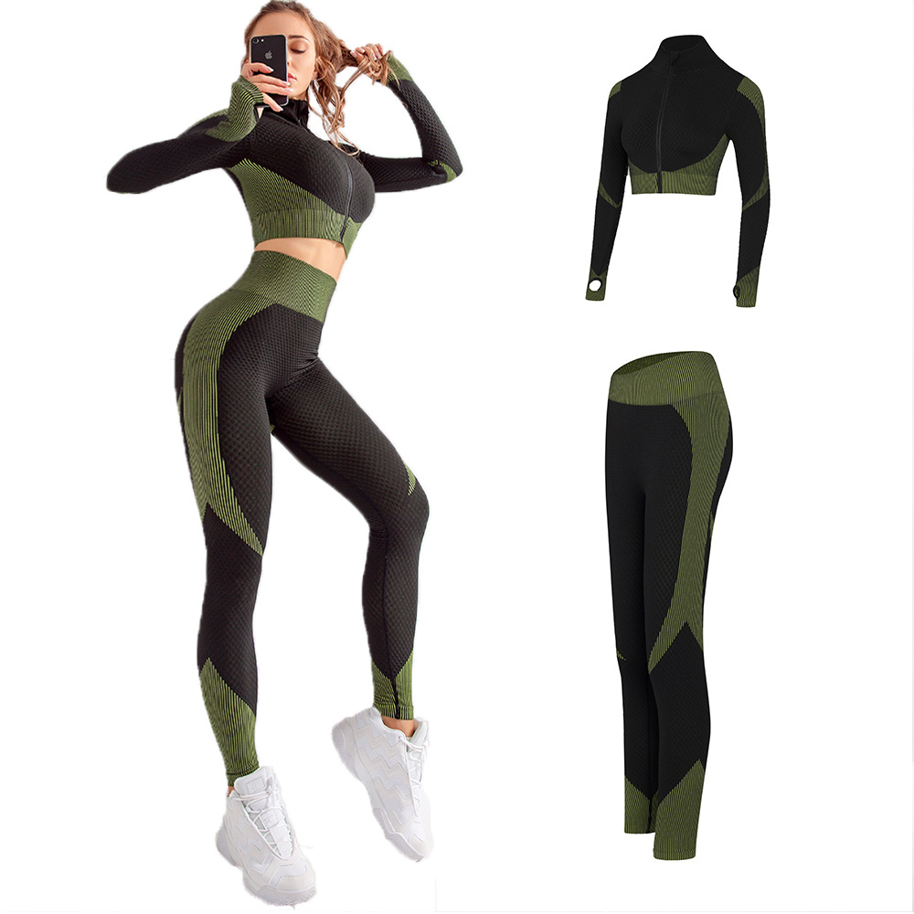 US $25.91 25% OFF|2 PcsSet Women Yoga Set Sports Suit Gym Workout Clothes Zipper Full Long Sleeve Fitness Crop Top High Waist Seamless Leggings|Yoga
