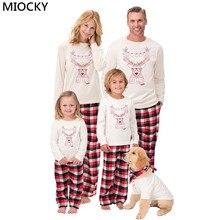 2Pcs Family Christmas Pajamas Kids&Adult Long Sleeve T-shirt+Striped Pants Matching Clothes Pjs Sleepwear E0274