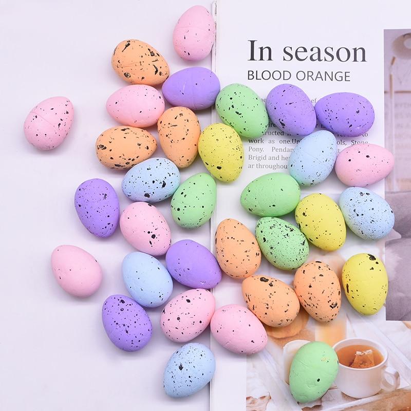 10/20/30Pcs 3x4cm Painted Foam Bird Pigeon Eggs Happy Easter Colorful Egg Decoration Home Festival Ornament Kids Gift Favor