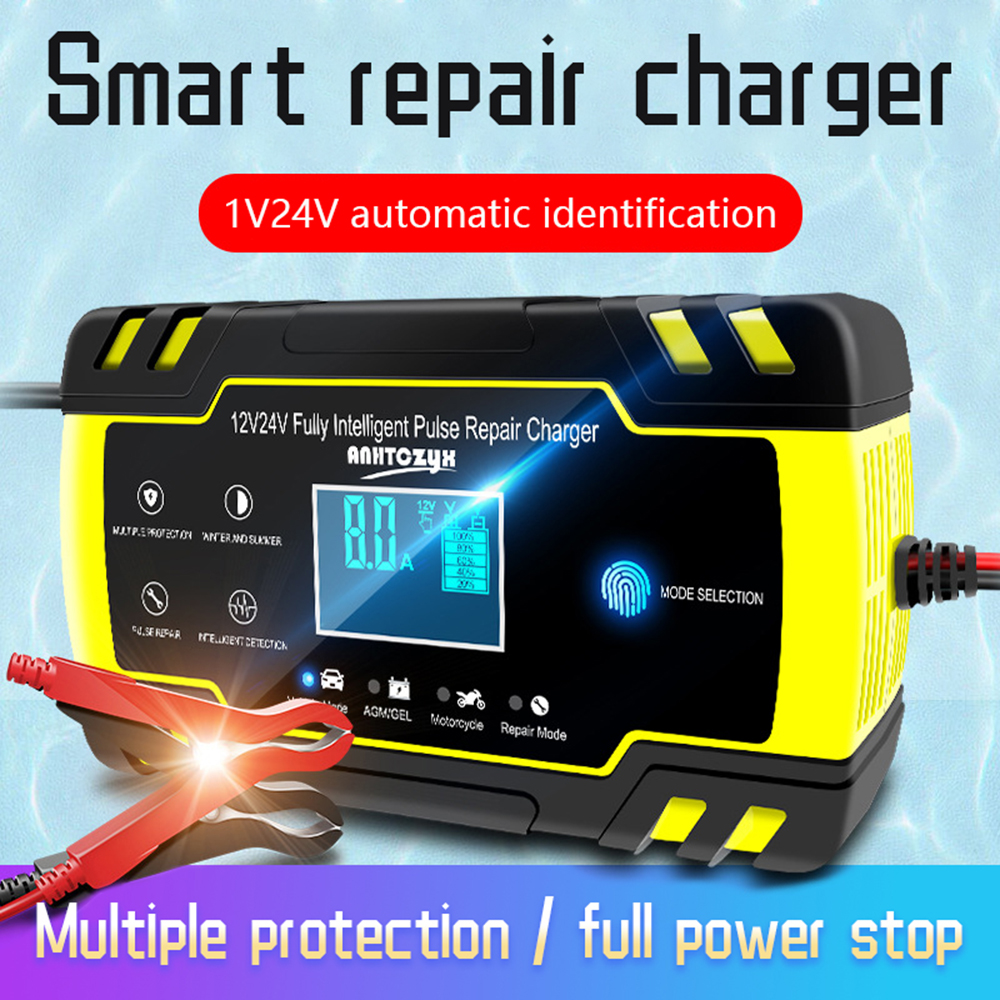 12v 24v 8A <font><b>Car</b></font> <font><b>Battery</b></font> Charger Full Automatic Touch Screen Fully Intelligent Pulse Repair Chargers Wet Dry Lead Acid LCD Display image