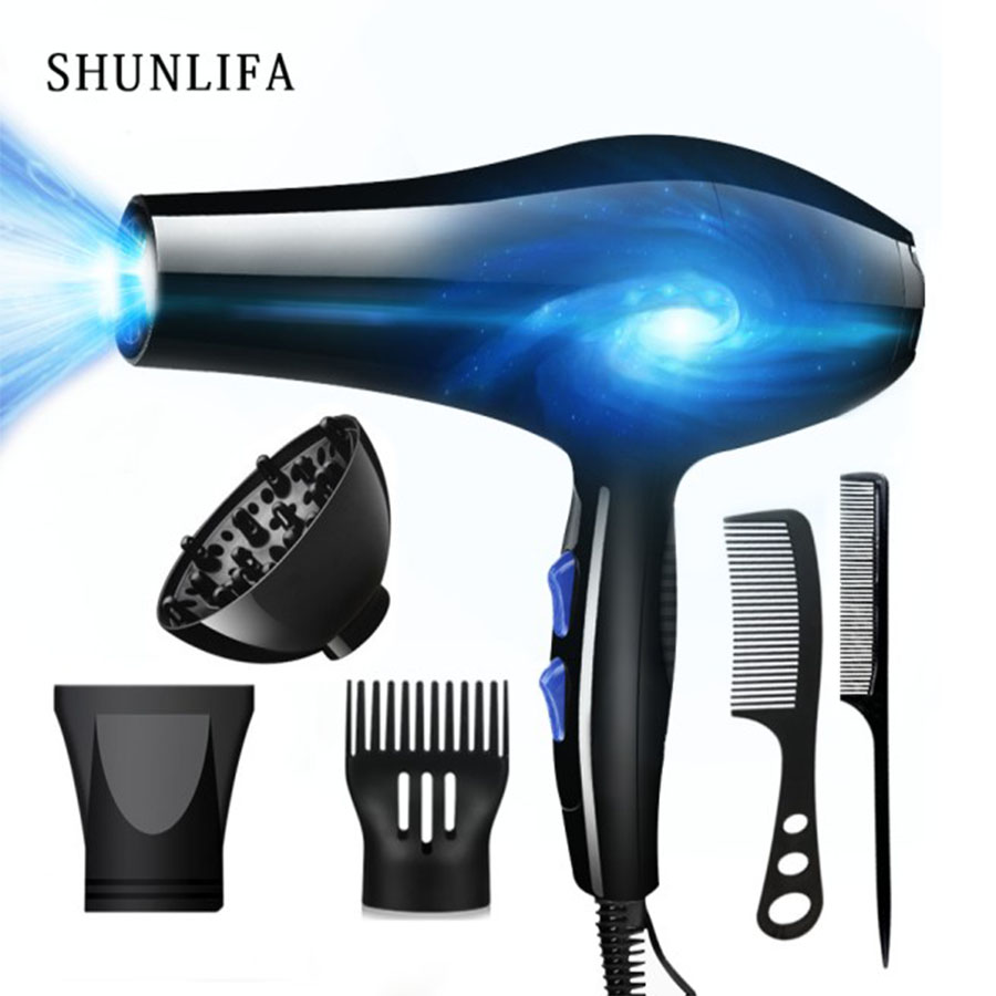 SHUNLIFA 2200W Powerful Professional Hair Dryer Tools Dryer Negative Ion Hair Brush Electric Blow Dryer Hot / Cold Air Blower