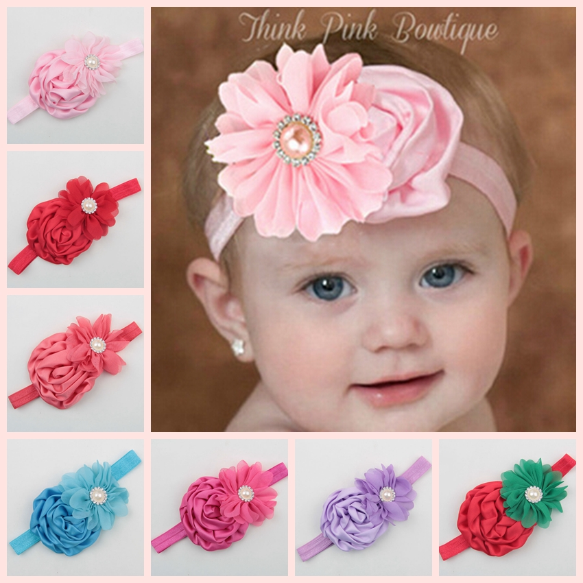 Yundfly Vintage Newborn Satin Ruffled Rose Headband Toddler Chiffon Pearl Hairband Headwear Baby Girls Hair Accessories