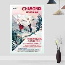 Vintage viaje nostálgico Ski Chamonix mont-blanco póster lienzo artístico póster sala de estar hogar Decoración de la pared (sin marco)