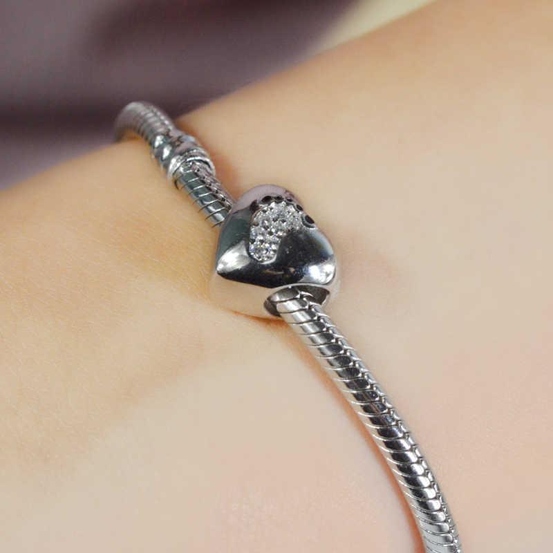 Strollgirl nowy 925 srebro śliczne ślad koraliki serce Charms z kamienia Fit bransoletka Pandora dla kobiet DIY biżuteria prezent