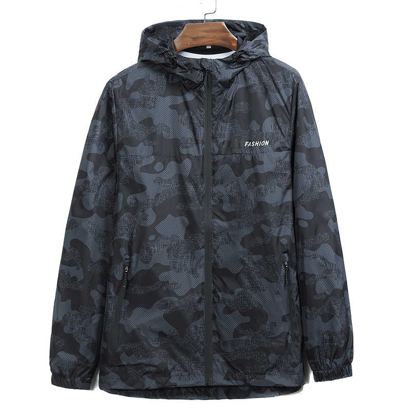 고품질 플러스 size8xl7xl 새로운 도착 남자 패션 위장 재킷 여름 조수 남성 후드 얇은 들어 갔어 코트 도매