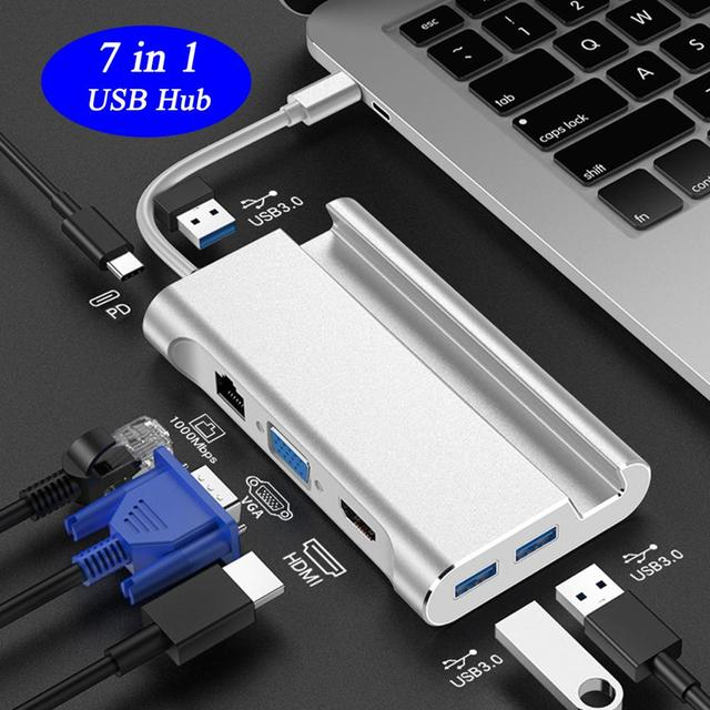 Bevigac 7 in 1 USB 3.0 Type C 허브 5Gbps 고속 oncentrator 어댑터 분배기 (Macbook Pro HP 용 4K HDMI 포트 폰 홀더 포함)