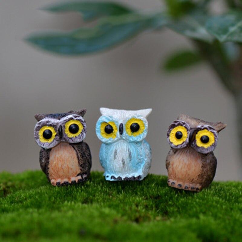 Mini Big Eyes Night Owl Ornament Crafts Small Statue Figurine Minerva Bird Home Car Desk Decoration False Money Box