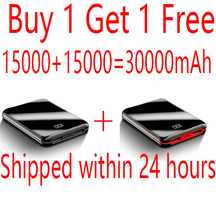 Power Bank 15000mAh Full Screen PowerBank 2 USB PoverBank External Battery Charger for Xiaomi Mi IPhone Cargador De Portatil itian a1 15000mah qc3 0 power bank