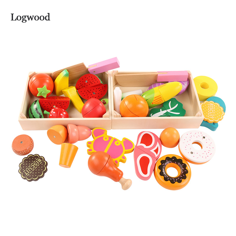 On Sale Wooden Kitchen Toys Cutting Fruit Vegetable Play Miniature Food Kids Wooden Baby Early Education Food Toys