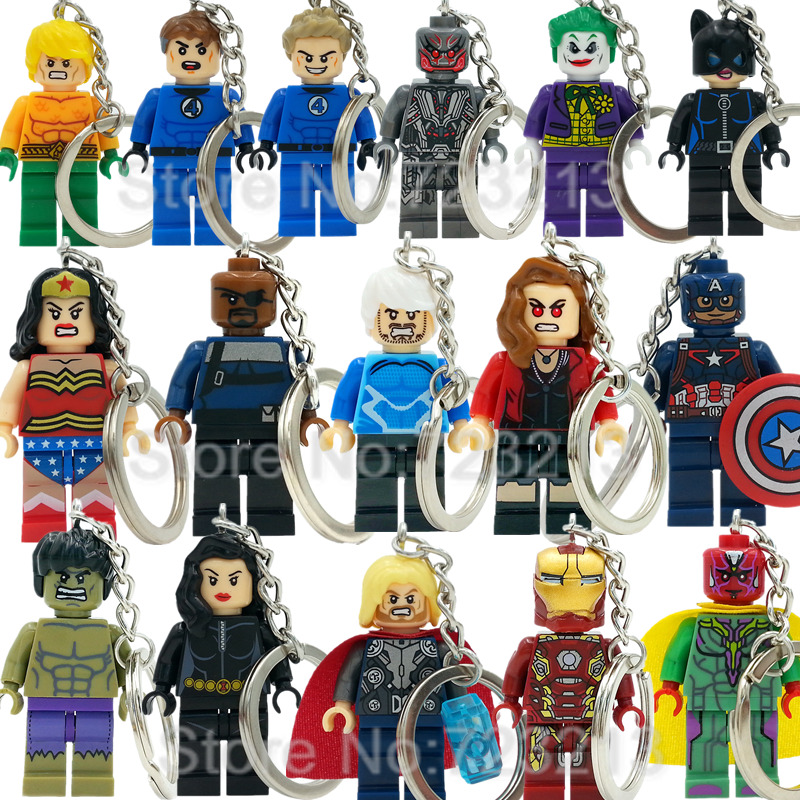 Super Hero Hulk Joker Ultron Figure Keychain Quicksilver Vision Human Torch Black Widow Aquaman Building Blocks Toys Legoing
