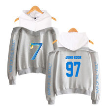 Classic JIMIN JIN RM V J-hope Jung Kook Kpop hoodies for teen girls Off-shoulder Sweatshirts Print Map of soul 7 Casual tops